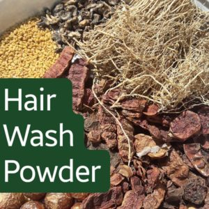 A hair wash powder with 21 natural ingredients